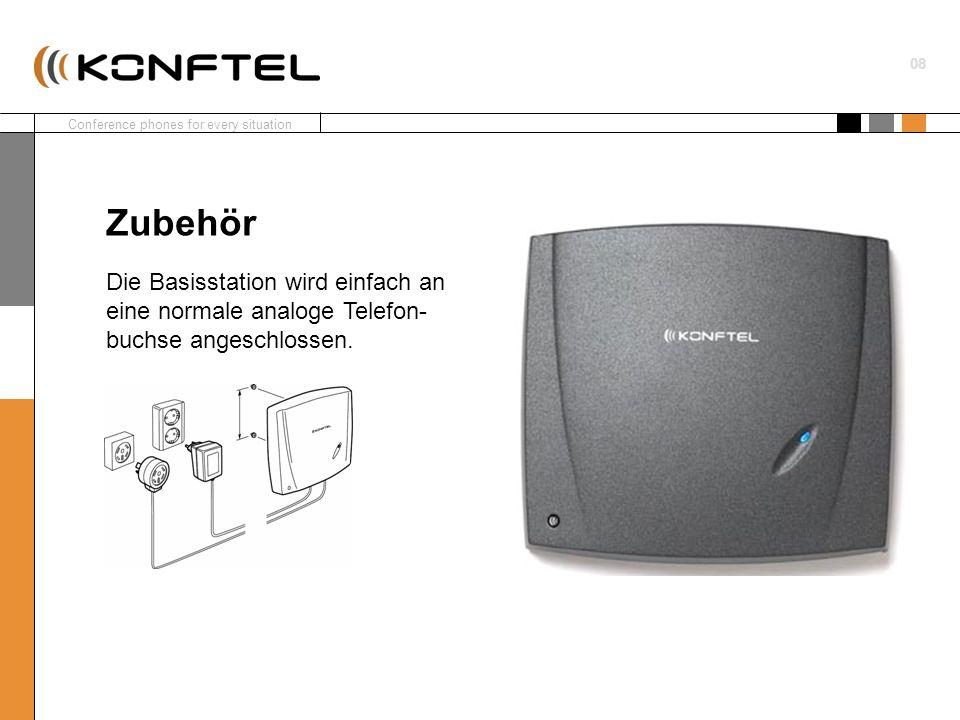 Conference phones for every situation 01 9 Jetzt sucht das Konftel 200W nach einer DECT-Bassistation / einem System.