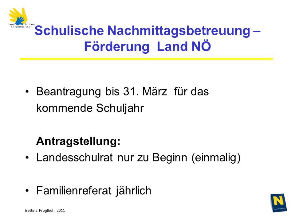 Bettina Pröglhöf, 2011 Schulische Nachmittagsbetreuung – Förderung Land NÖ Beantragung bis 31.