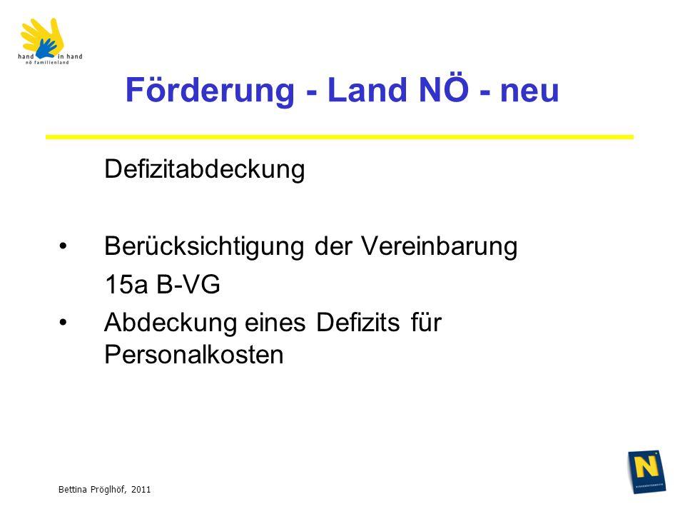 Bettina Pröglhöf, 2011 Förderung - Land NÖ - neu Defizitabdeckung Berücksichtigung der Vereinbarung 15a B-VG Abdeckung eines Defizits für Personalkosten