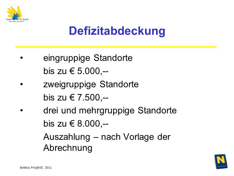 Bettina Pröglhöf, 2011 Defizitabdeckung eingruppige Standorte bis zu 5.000,-- zweigruppige Standorte bis zu 7.500,-- drei und mehrgruppige Standorte bis zu 8.000,-- Auszahlung – nach Vorlage der Abrechnung