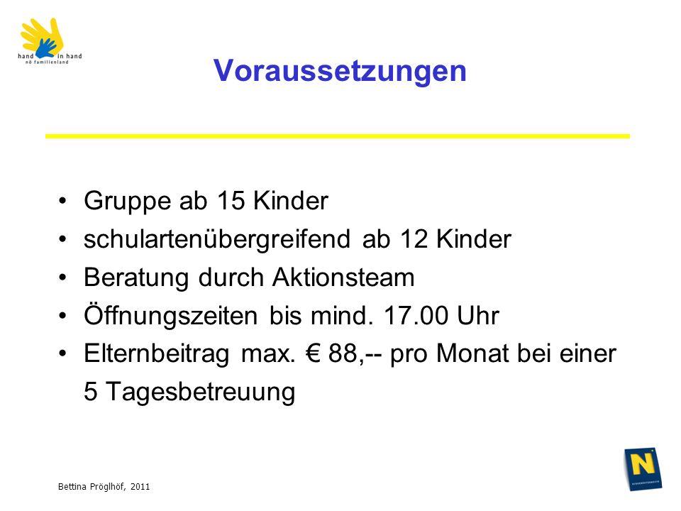 Bettina Pröglhöf, 2011 Voraussetzungen Gruppe ab 15 Kinder schulartenübergreifend ab 12 Kinder Beratung durch Aktionsteam Öffnungszeiten bis mind.