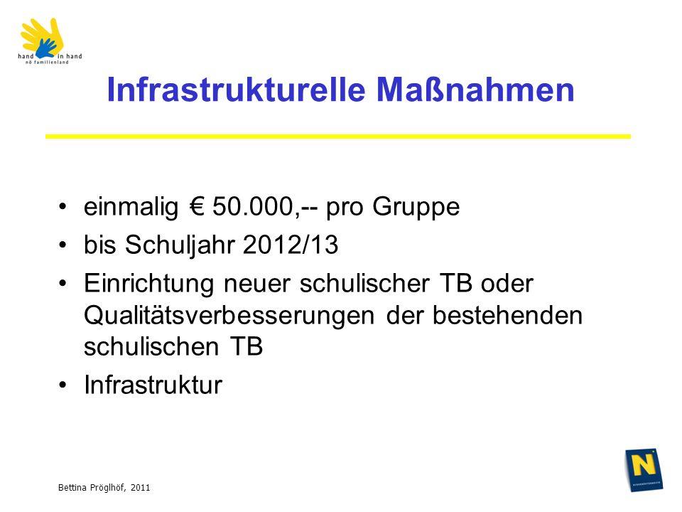 Bettina Pröglhöf, 2011 Infrastrukturelle Maßnahmen einmalig 50.000,-- pro Gruppe bis Schuljahr 2012/13 Einrichtung neuer schulischer TB oder Qualitätsverbesserungen der bestehenden schulischen TB Infrastruktur