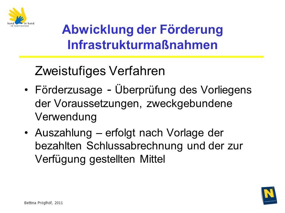 Bettina Pröglhöf, 2011 Abwicklung der Förderung Infrastrukturmaßnahmen Zweistufiges Verfahren Förderzusage - Überprüfung des Vorliegens der Voraussetzungen, zweckgebundene Verwendung Auszahlung – erfolgt nach Vorlage der bezahlten Schlussabrechnung und der zur Verfügung gestellten Mittel