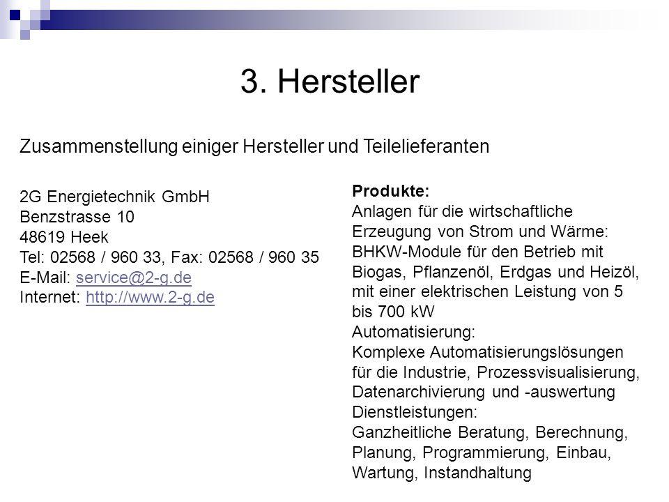 3. Hersteller 2G Energietechnik GmbH Benzstrasse 10 48619 Heek Tel: 02568 / 960 33, Fax: 02568 / 960 35 E-Mail: service@2-g.de Internet: http://www.2-