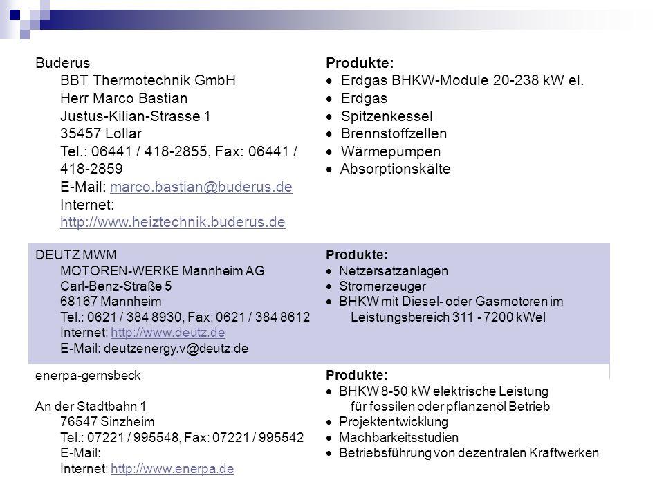 Buderus BBT Thermotechnik GmbH Herr Marco Bastian Justus-Kilian-Strasse 1 35457 Lollar Tel.: 06441 / 418-2855, Fax: 06441 / 418-2859 E-Mail: marco.bas