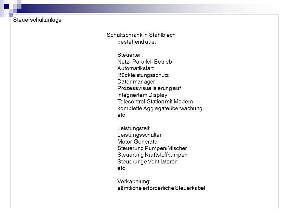 Steuerschaltanlage Schaltschrank in Stahlblech bestehend aus: Steuerteil: Netz- Parallel- Betrieb Automatikstart Rückleistungsschutz Datenmanager Proz