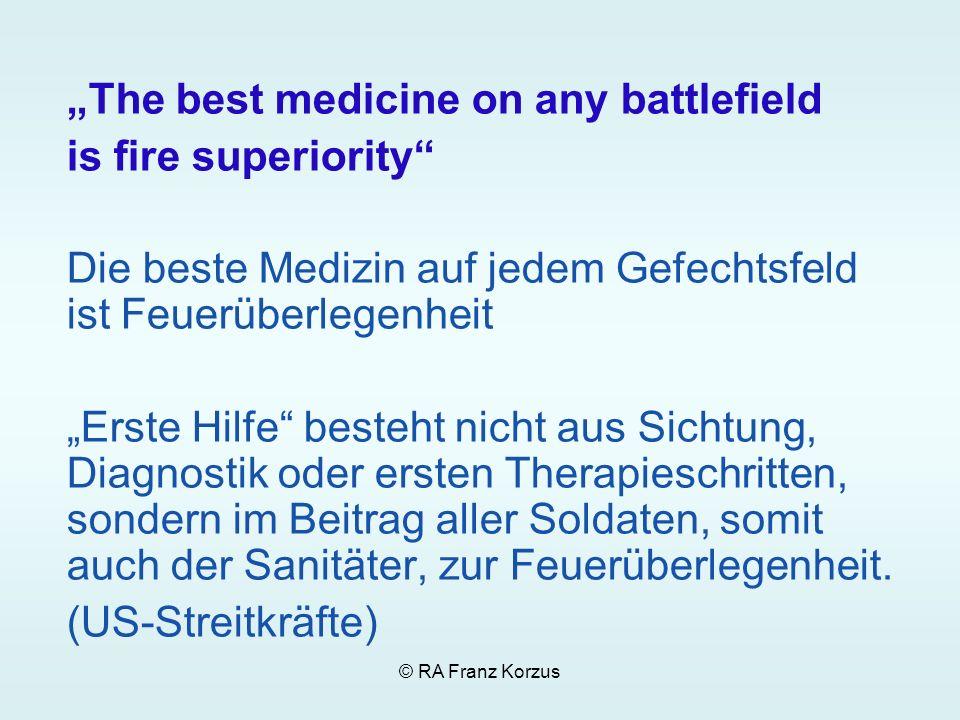 © RA Franz Korzus The best medicine on any battlefield is fire superiority Die beste Medizin auf jedem Gefechtsfeld ist Feuerüberlegenheit Erste Hilfe