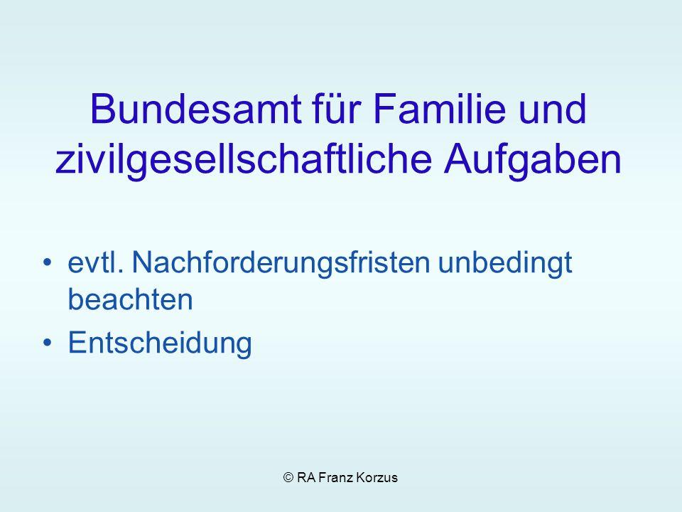 © RA Franz Korzus Bundesamt für Familie und zivilgesellschaftliche Aufgaben evtl. Nachforderungsfristen unbedingt beachten Entscheidung
