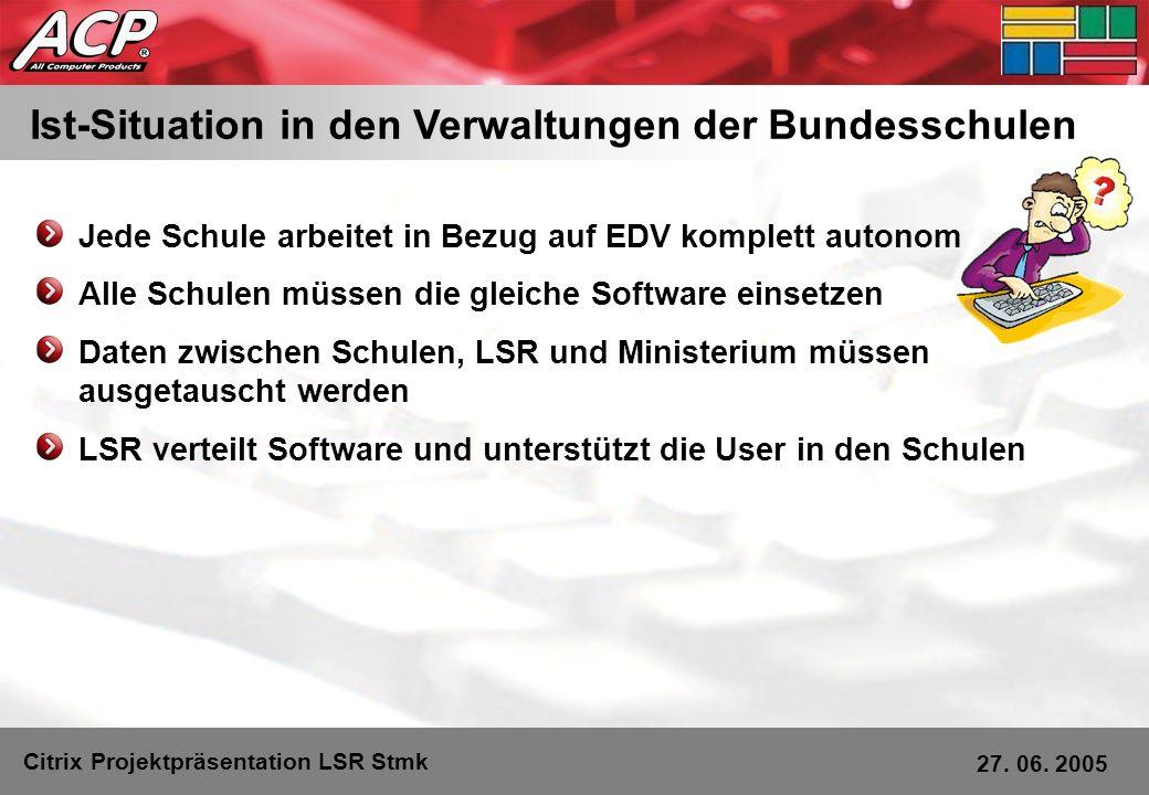 Ist-Situation in den Verwaltungen der Bundesschulen Jede Schule arbeitet in Bezug auf EDV komplett autonom Alle Schulen müssen die gleiche Software ei