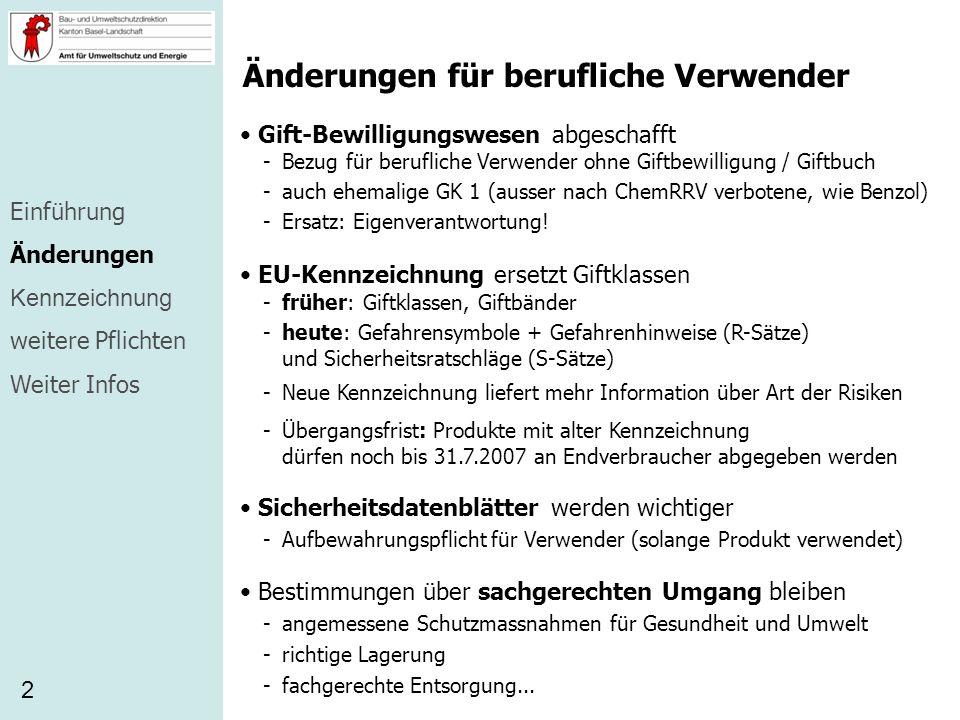 Änderungen für berufliche Verwender Gift-Bewilligungswesen abgeschafft 2 -Bezug für berufliche Verwender ohne Giftbewilligung / Giftbuch -auch ehemali