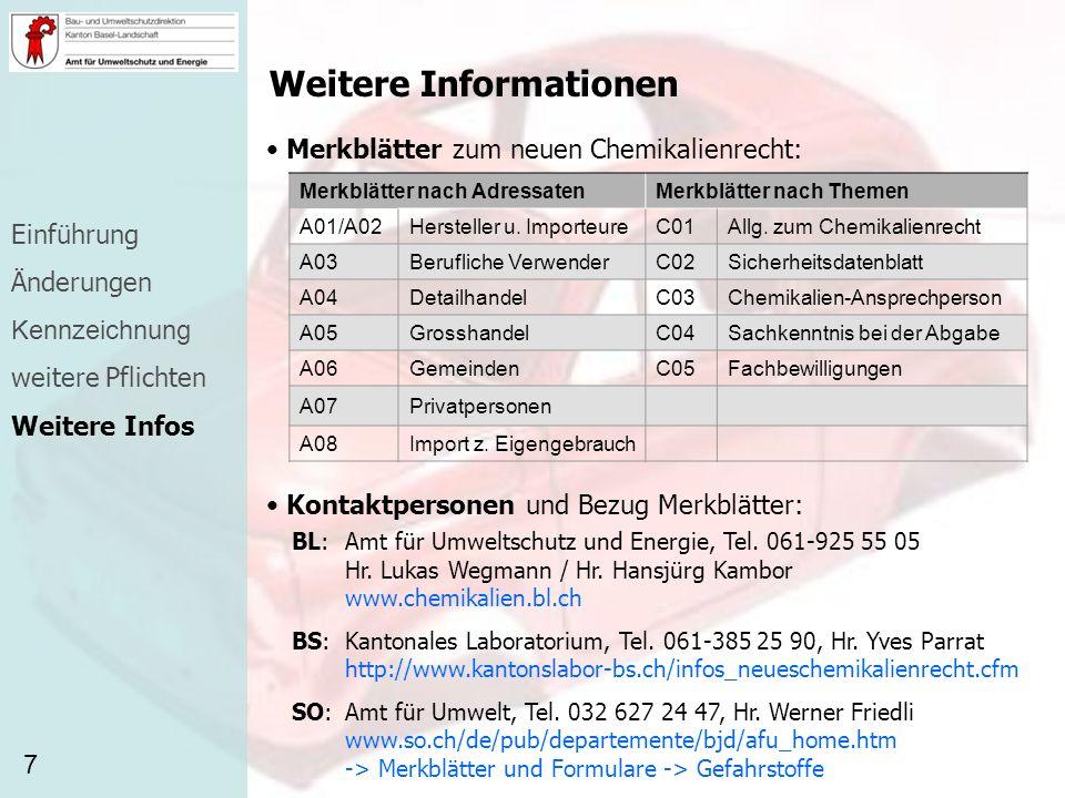Weitere Informationen Merkblätter zum neuen Chemikalienrecht: 7 Merkblätter nach AdressatenMerkblätter nach Themen A01/A02Hersteller u. ImporteureC01A