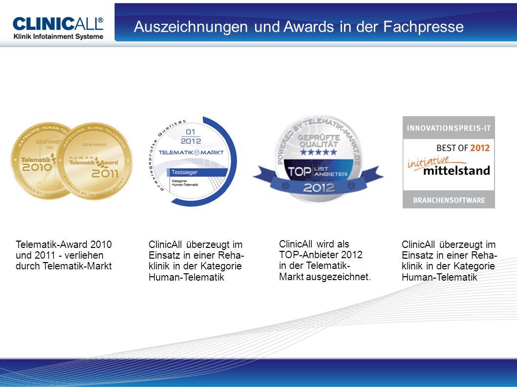 Auszeichnungen und Awards in der Fachpresse Telematik-Award 2010 und 2011 - verliehen durch Telematik-Markt ClinicAll überzeugt im Einsatz in einer Reha- klinik in der Kategorie Human-Telematik ClinicAll wird als TOP-Anbieter 2012 in der Telematik- Markt ausgezeichnet.