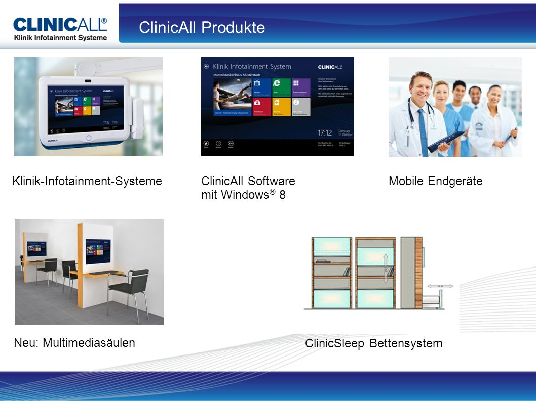 ClinicAll Produkte Klinik-Infotainment-SystemeClinicAll Software mit Windows ® 8 Mobile Endgeräte Neu: Multimediasäulen ClinicSleep Bettensystem