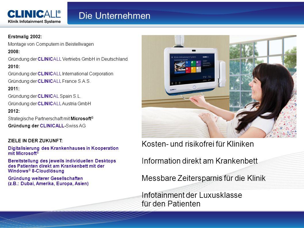 Erstmalig 2002: Montage von Computern in Beistellwagen 2008: Gründung der CLINICALL Vertriebs GmbH in Deutschland.