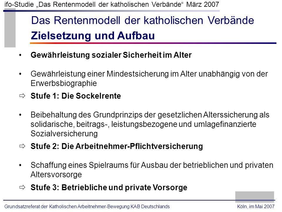 Grundsatzreferat der Katholischen Arbeitnehmer-Bewegung KAB Deutschlands ifo-Studie Das Rentenmodell der katholischen Verbände März 2007 Köln, im Mai