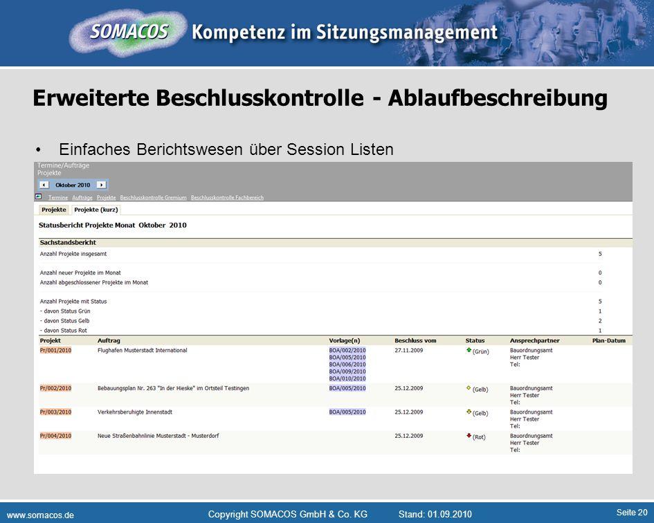 Seite 20 www.somacos.de Copyright SOMACOS GmbH & Co. KGStand: 01.09.2010 Erweiterte Beschlusskontrolle - Ablaufbeschreibung Einfaches Berichtswesen üb
