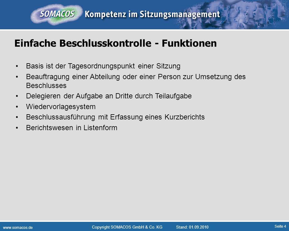 Seite 4 www.somacos.de Copyright SOMACOS GmbH & Co. KGStand: 01.09.2010 Einfache Beschlusskontrolle - Funktionen Basis ist der Tagesordnungspunkt eine