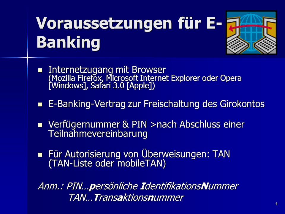 4 Voraussetzungen für E- Banking Internetzugang mit Browser (Mozilla Firefox, Microsoft Internet Explorer oder Opera [Windows], Safari 3.0 [Apple]) In