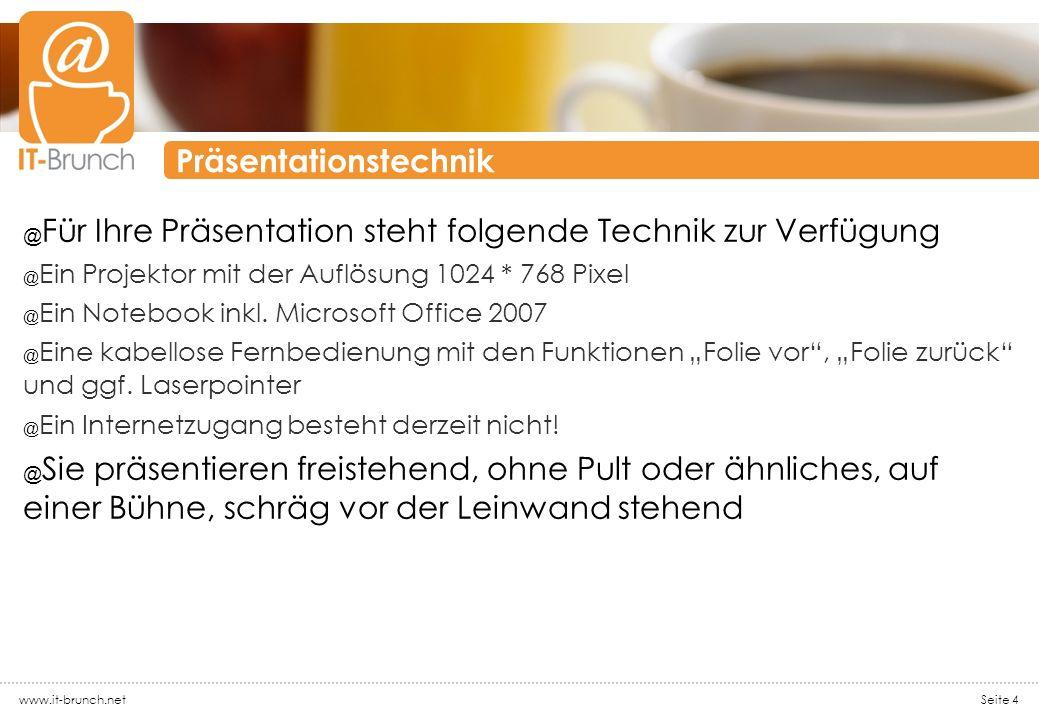 Präsentationstechnik @ Für Ihre Präsentation steht folgende Technik zur Verfügung @ Ein Projektor mit der Auflösung 1024 * 768 Pixel @ Ein Notebook in