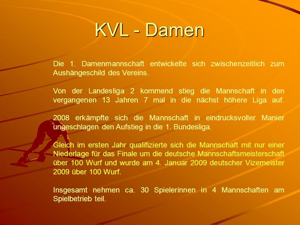 KVL - Damen Die 1. Damenmannschaft entwickelte sich zwischenzeitlich zum Aushängeschild des Vereins. Von der Landesliga 2 kommend stieg die Mannschaft