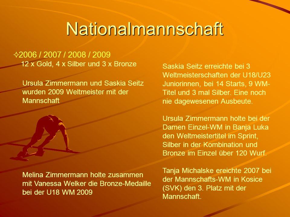 Nationalmannschaft 2006 / 2007 / 2008 / 2009 12 x Gold, 4 x Silber und 3 x Bronze Ursula Zimmermann und Saskia Seitz wurden 2009 Weltmeister mit der M