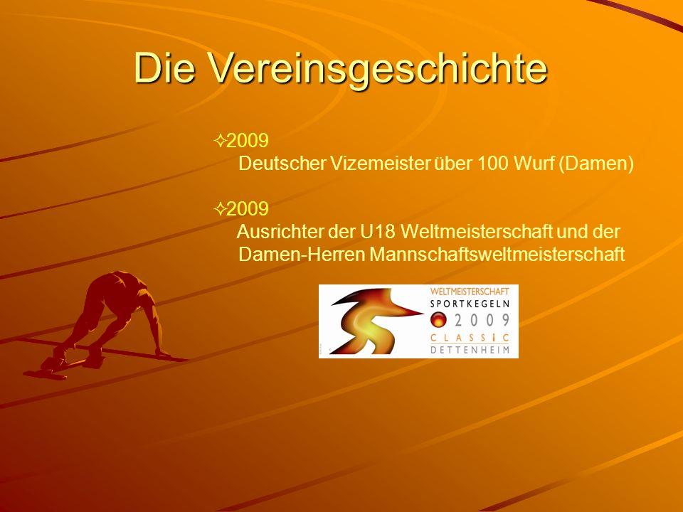 Die Vereinsgeschichte 2009 Deutscher Vizemeister über 100 Wurf (Damen) 2009 Ausrichter der U18 Weltmeisterschaft und der Damen-Herren Mannschaftsweltm
