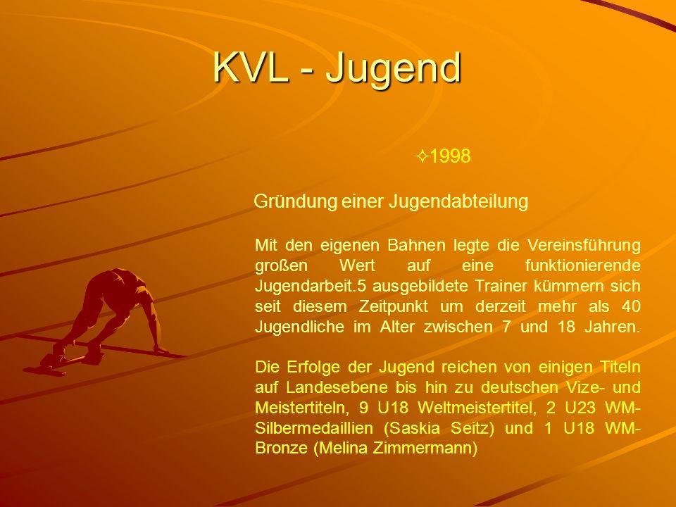 KVL - Jugend 1998 Gründung einer Jugendabteilung Mit den eigenen Bahnen legte die Vereinsführung großen Wert auf eine funktionierende Jugendarbeit.5 a