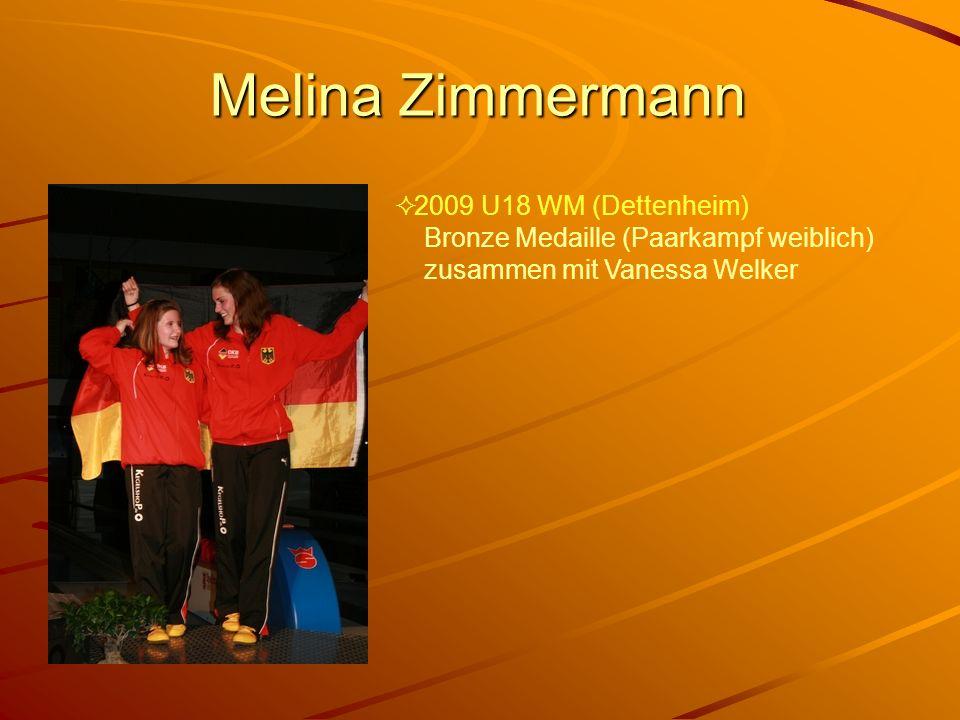 Melina Zimmermann 2009 U18 WM (Dettenheim) Bronze Medaille (Paarkampf weiblich) zusammen mit Vanessa Welker