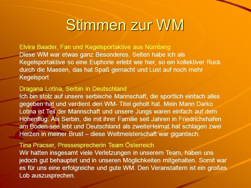 Stimmen zur WM Elvira Baader, Fan und Kegelsportaktive aus Nürnberg Diese WM war etwas ganz Besonderes. Selten habe ich als Kegelsportaktive so eine E