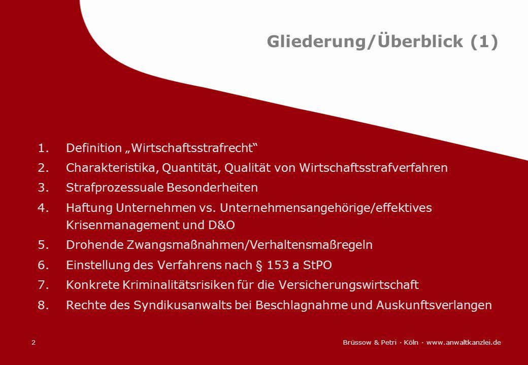 Brüssow & Petri · Köln · www.anwaltkanzlei.de2 Gliederung/Überblick (1) 1.Definition Wirtschaftsstrafrecht 2.Charakteristika, Quantität, Qualität von