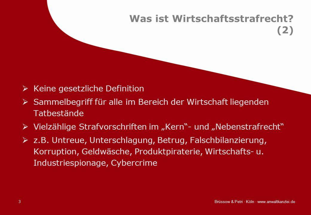 Brüssow & Petri · Köln · www.anwaltkanzlei.de3 Was ist Wirtschaftsstrafrecht? (2) Keine gesetzliche Definition Sammelbegriff für alle im Bereich der W