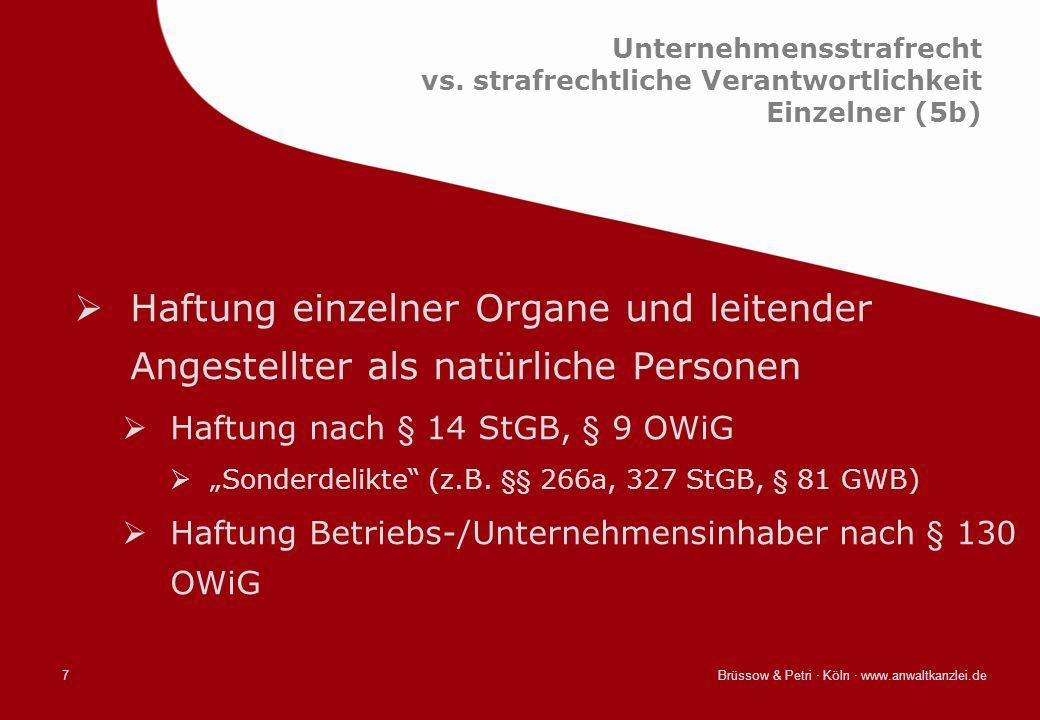 Brüssow & Petri · Köln · www.anwaltkanzlei.de7 Unternehmensstrafrecht vs. strafrechtliche Verantwortlichkeit Einzelner (5b) Haftung einzelner Organe u