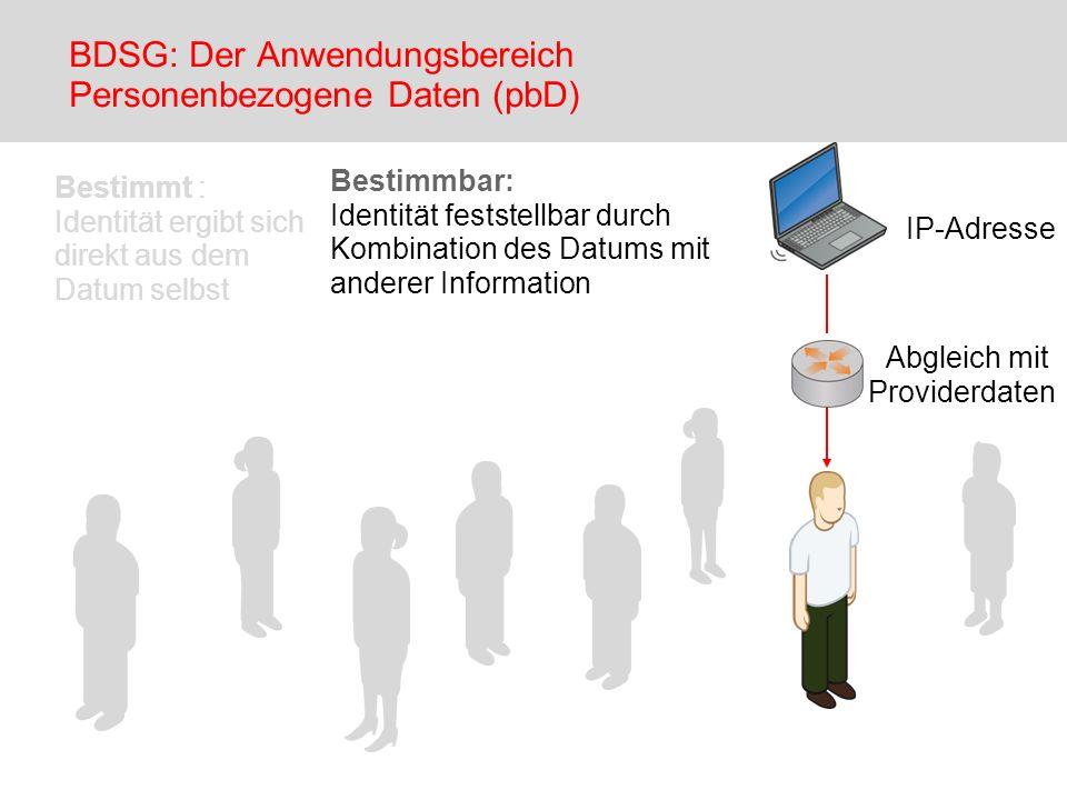 Bestimmbar: Identität feststellbar durch Kombination des Datums mit anderer Information IP-Adresse Abgleich mit Providerdaten BDSG: Der Anwendungsbere