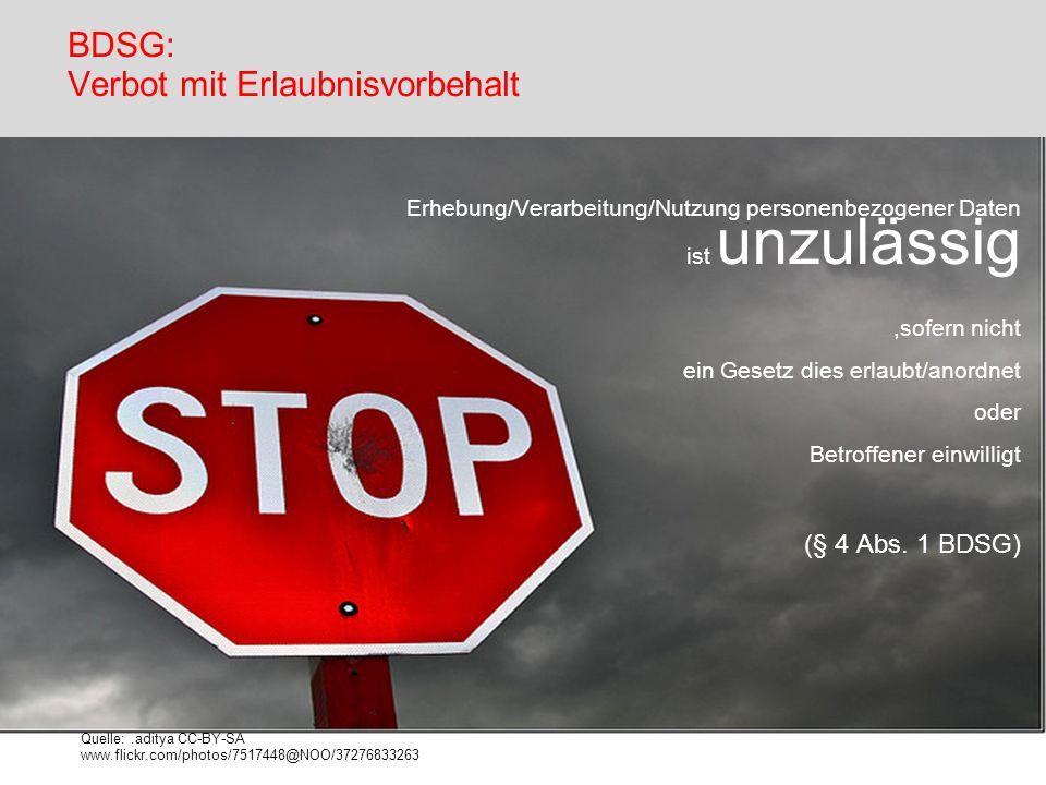BDSG: Verbot mit Erlaubnisvorbehalt Quelle:.aditya CC-BY-SA www.flickr.com/photos/7517448@NOO/37276833263 Erhebung/Verarbeitung/Nutzung personenbezoge