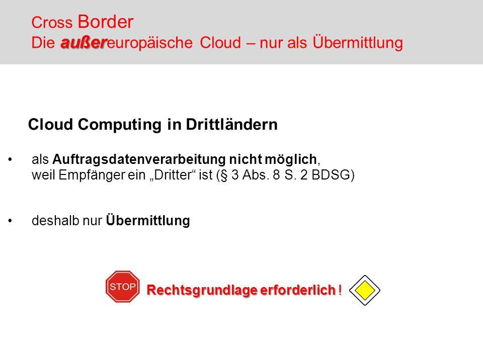 Cloud Computing in Drittländern als Auftragsdatenverarbeitung nicht möglich, weil Empfänger ein Dritter ist (§ 3 Abs. 8 S. 2 BDSG) deshalb nur Übermit