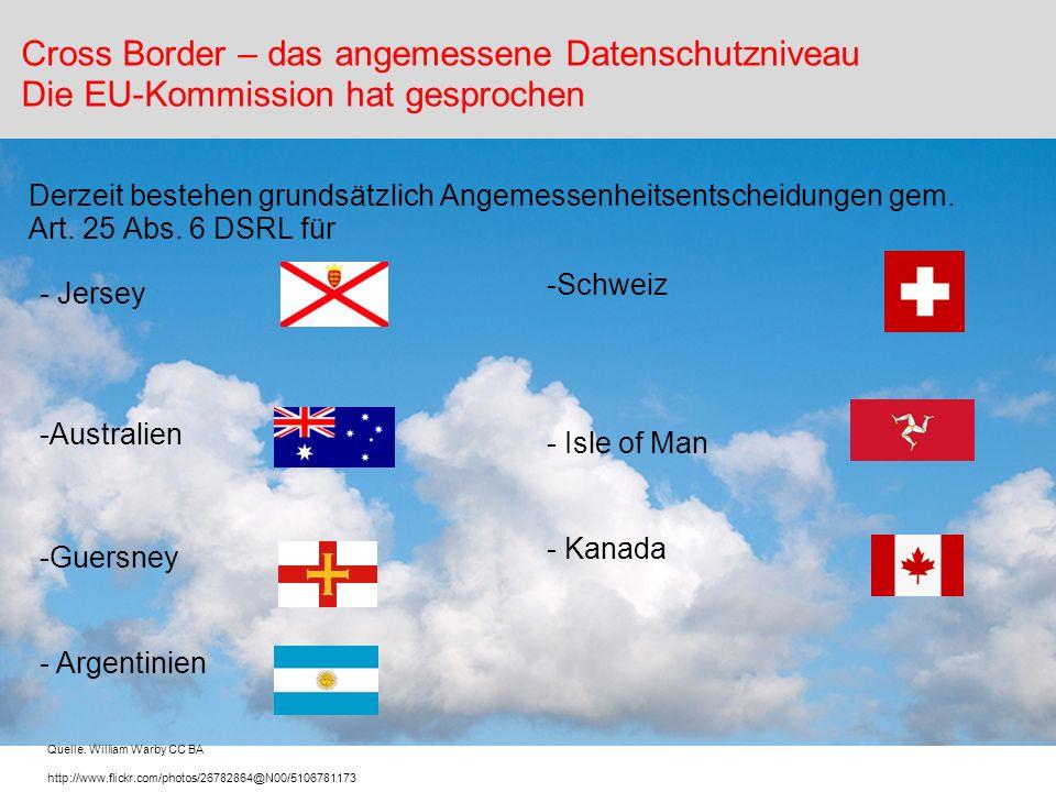 - Jersey -Australien -Guersney - Argentinien Derzeit bestehen grundsätzlich Angemessenheitsentscheidungen gem. Art. 25 Abs. 6 DSRL für Cross Border –