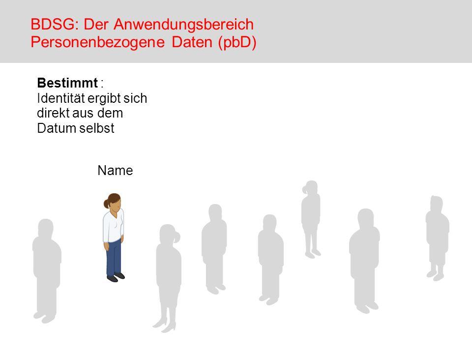 Name Bestimmt : Identität ergibt sich direkt aus dem Datum selbst BDSG: Der Anwendungsbereich Personenbezogene Daten (pbD)