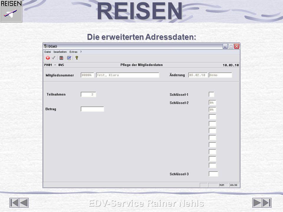 Die erweiterten Adressdaten: REISEN
