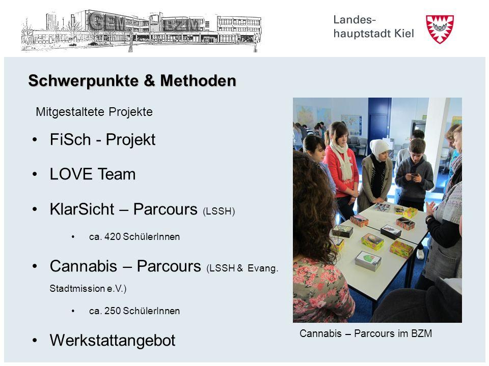 Schwerpunkte & Methoden Mitgestaltete Projekte FiSch - Projekt LOVE Team KlarSicht – Parcours (LSSH) ca. 420 SchülerInnen Cannabis – Parcours (LSSH &