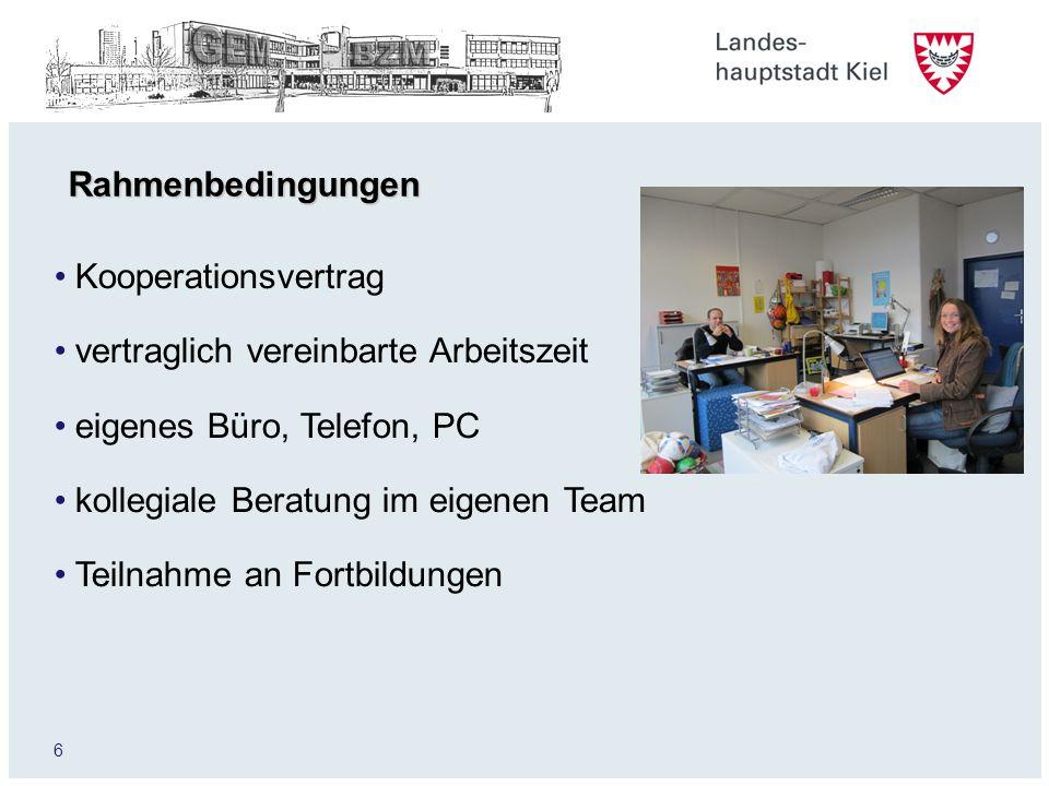 6 Rahmenbedingungen Kooperationsvertrag vertraglich vereinbarte Arbeitszeit eigenes Büro, Telefon, PC kollegiale Beratung im eigenen Team Teilnahme an Fortbildungen