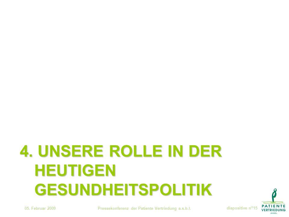 4. UNSERE ROLLE IN DER HEUTIGEN GESUNDHEITSPOLITIK 05.