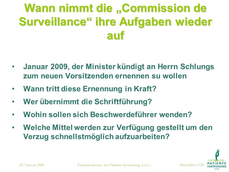 Wann nimmt die Commission de Surveillance ihre Aufgaben wieder auf 05.