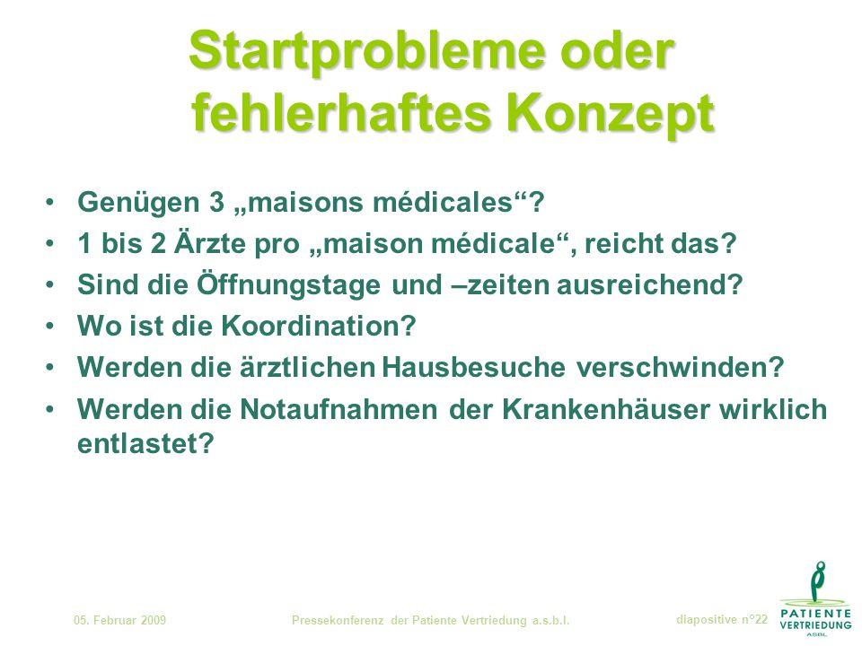 Startprobleme oder fehlerhaftes Konzept Genügen 3 maisons médicales.