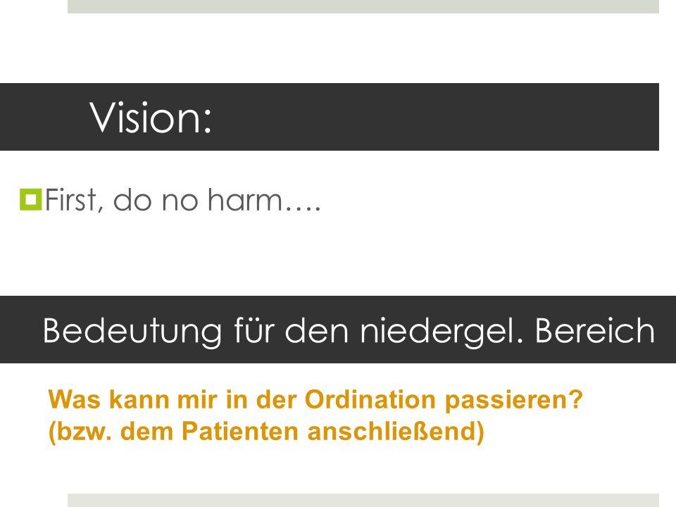 Vision: First, do no harm…. Bedeutung für den niedergel. Bereich Was kann mir in der Ordination passieren? (bzw. dem Patienten anschließend)