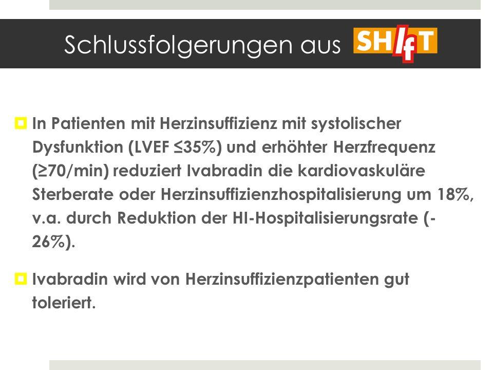 Schlussfolgerungen aus In Patienten mit Herzinsuffizienz mit systolischer Dysfunktion (LVEF 35%) und erhöhter Herzfrequenz (70/min) reduziert Ivabradi