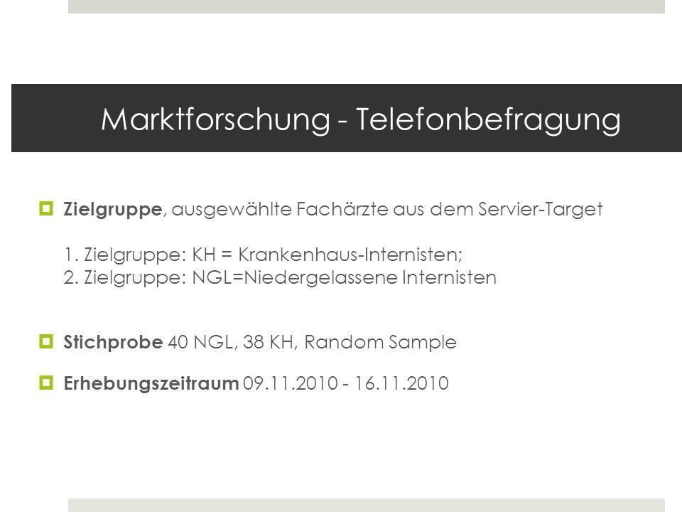 Marktforschung - Telefonbefragung Zielgruppe, ausgewählte Fachärzte aus dem Servier-Target 1. Zielgruppe: KH = Krankenhaus-Internisten; 2. Zielgruppe: