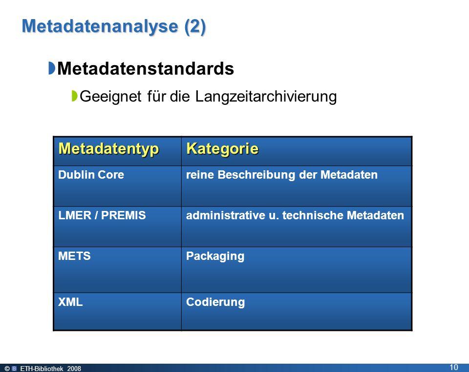 © ETH-Bibliothek 2008 10 MetadatentypKategorie Dublin Corereine Beschreibung der Metadaten LMER / PREMISadministrative u.