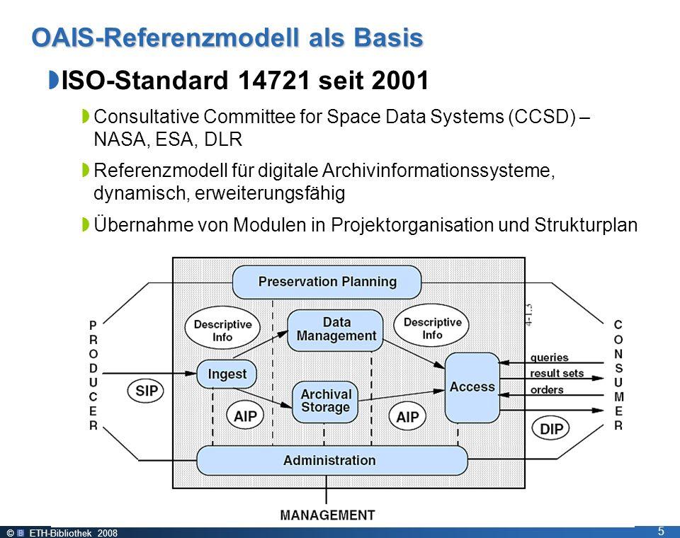 © ETH-Bibliothek 2008 5 OAIS-Referenzmodell als Basis ISO-Standard 14721 seit 2001 Consultative Committee for Space Data Systems (CCSD) – NASA, ESA, DLR Referenzmodell für digitale Archivinformationssysteme, dynamisch, erweiterungsfähig Übernahme von Modulen in Projektorganisation und Strukturplan