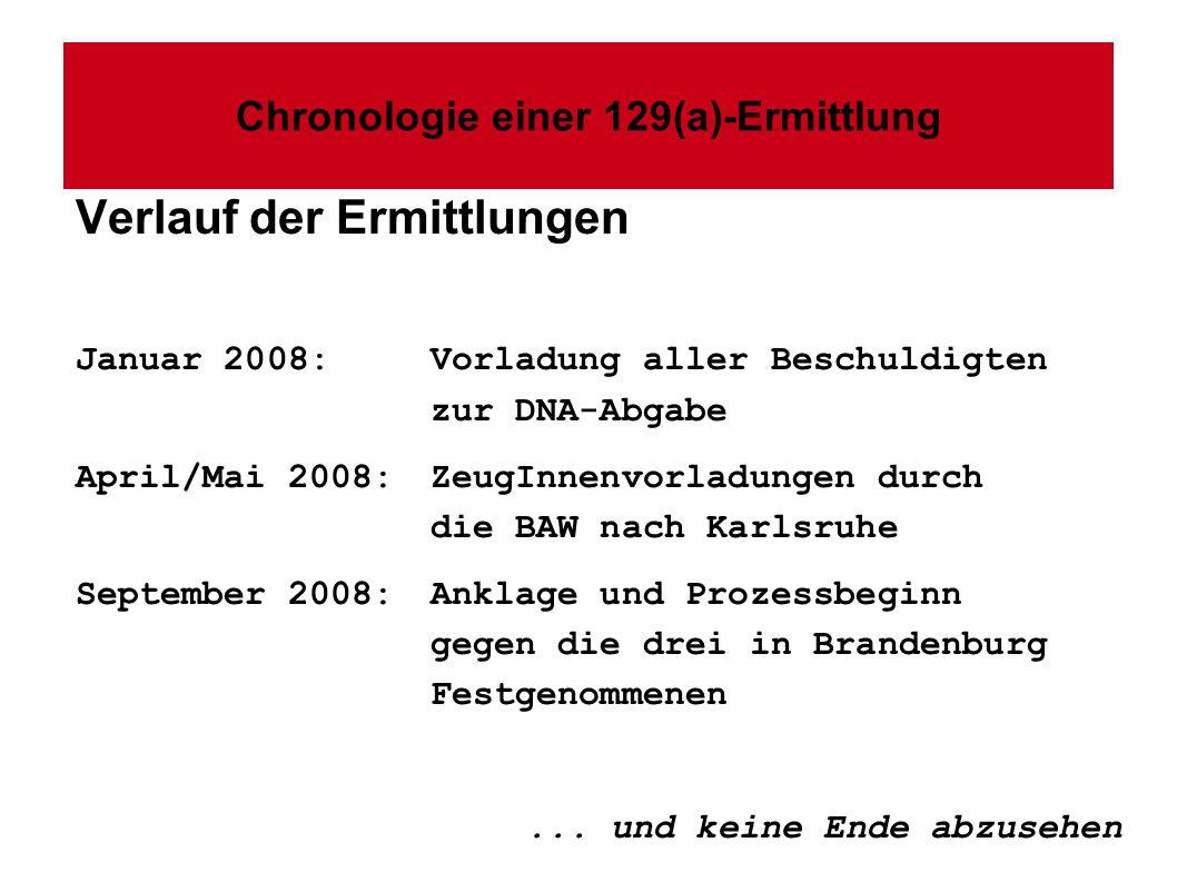 Chronologie einer 129(a)-Ermittlung Verlauf der Ermittlungen Januar 2008: Vorladung aller Beschuldigten zur DNA-Abgabe April/Mai 2008:ZeugInnenvorladungen durch die BAW nach Karlsruhe September 2008:Anklage und Prozessbeginn gegen die drei in Brandenburg Festgenommenen...