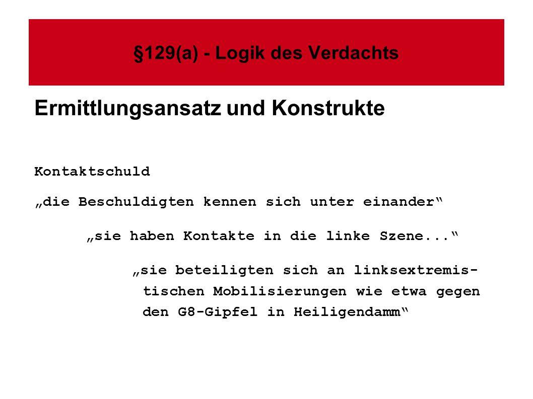 §129(a) - Logik des Verdachts Ermittlungsansatz und Konstrukte Kontaktschuld die Beschuldigten kennen sich unter einander sie haben Kontakte in die li